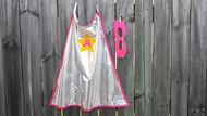 Personalised Star Cape in Pink and Yellow with reversible mask for children