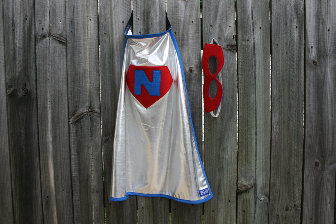 Personalised Super Cape in Blue and Red with Red Mask