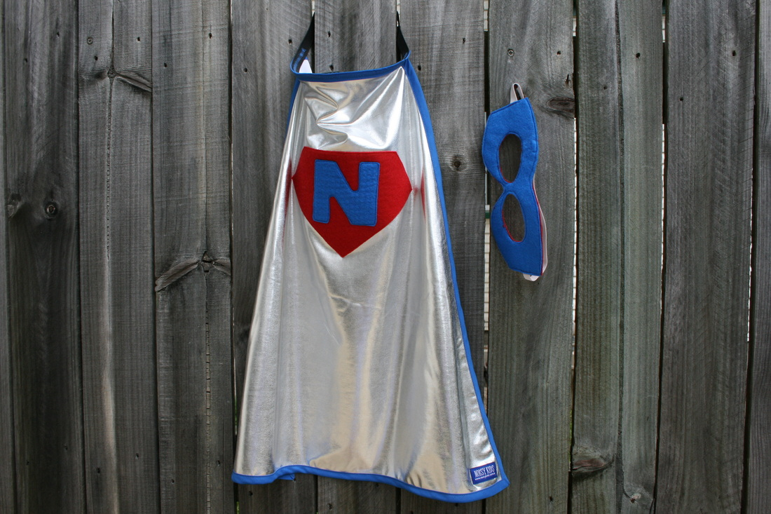 Personalised Super Cape in Blue and Red with Blue Mask
